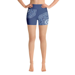Blue Mandala in Blue Yoga Shorts