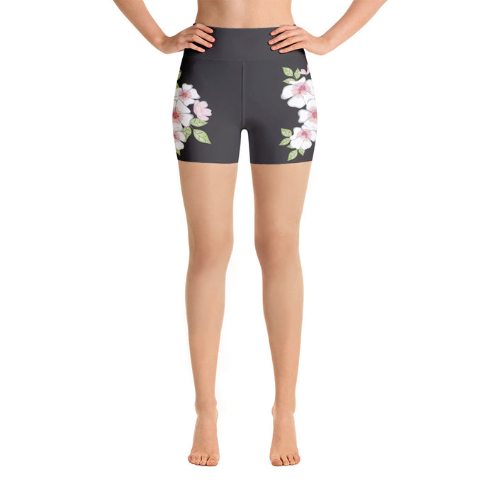 Cherry Blossoms on Black Yoga Shorts
