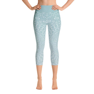 Mandala Sea Foam Yoga Capri Leggings