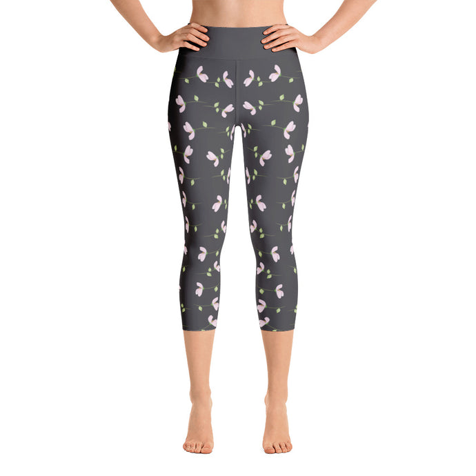 Cherry Blossoms Falling, Black Yoga Capri Leggings