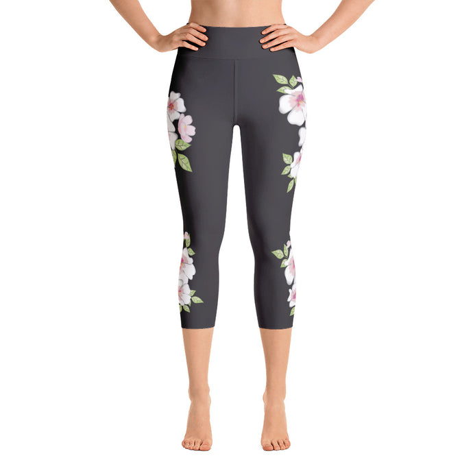 Cherry Blossoms on Black Yoga Capri Leggings