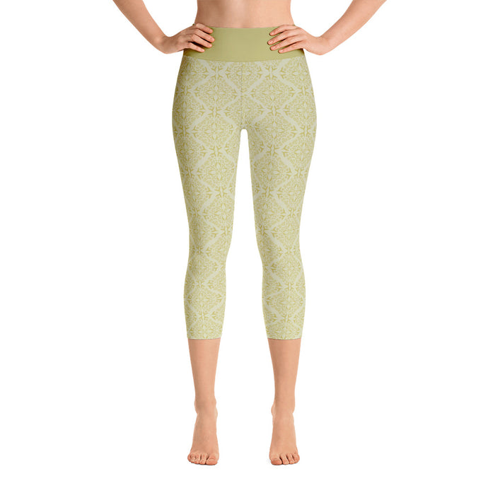 Gold Filigree in Gold Yoga Capri Leggings