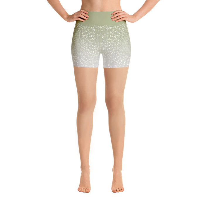 Mandala Green Yoga Shorts