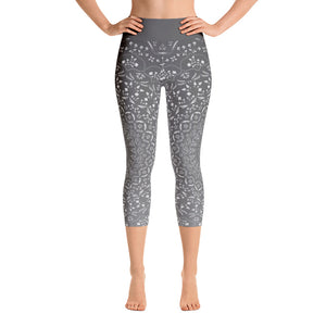 Mandala Grey Yoga Capri Leggings