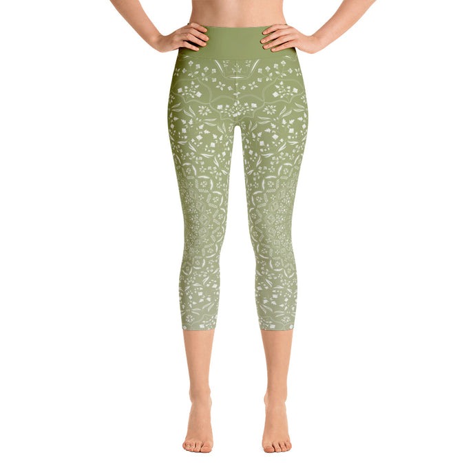 Mandala Green Yoga Capri Leggings