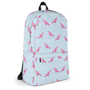 Pink Azaleas in Blue Backpack