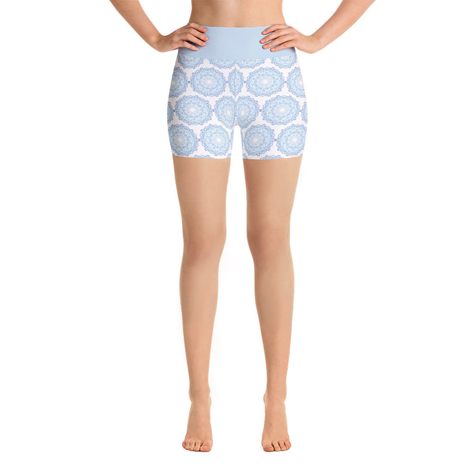 Mandala Light Blue Yoga Shorts