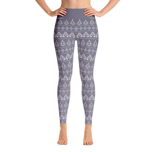 Damask Pattern in Pale Purple Yoga Leggings