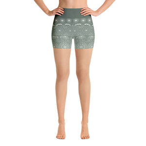 Elephant Mandala in Green Yoga Shorts