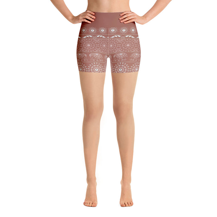 Elephant Mandala in Copper Red Yoga Shorts