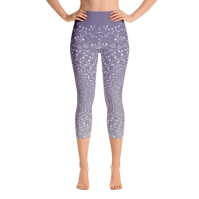 Mandala Purple Yoga Capri Leggings