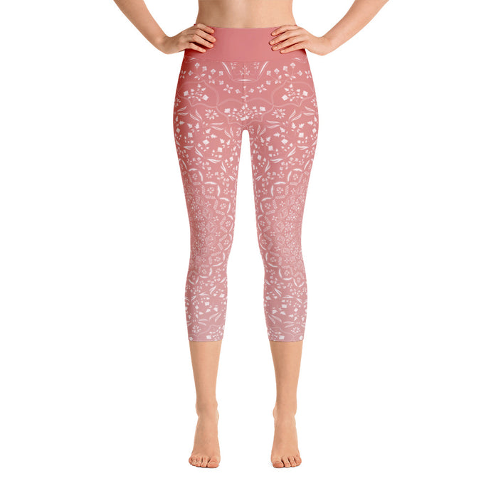 Mandala Peach Yoga Capri Leggings