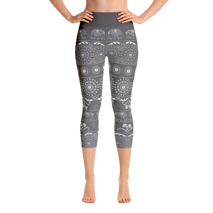 Elephant Mandala in Grey Yoga Capri Leggings