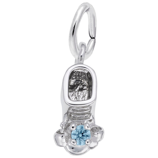 Rembrandt Charms 03 Babyshoe March Charm Pendant Available in Gold or Sterling Silver
