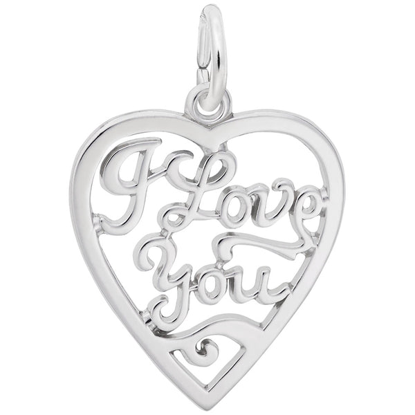 Rembrandt Charms I Love You Charm Pendant Available in Gold or Sterling Silver