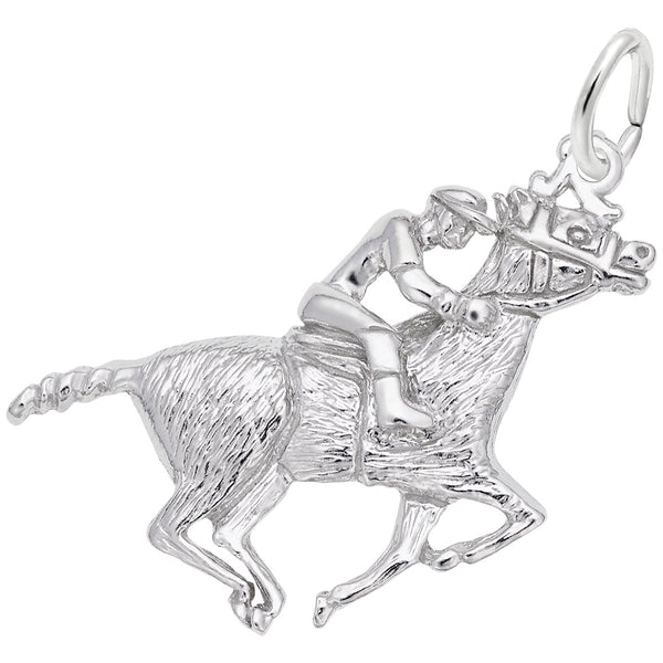 Rembrandt Charms Horse And Rider Charm Pendant Available in Gold or Sterling Silver