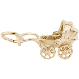 Rembrandt Charms Gold Plated Sterling Silver Baby Carriage Charm Pendant