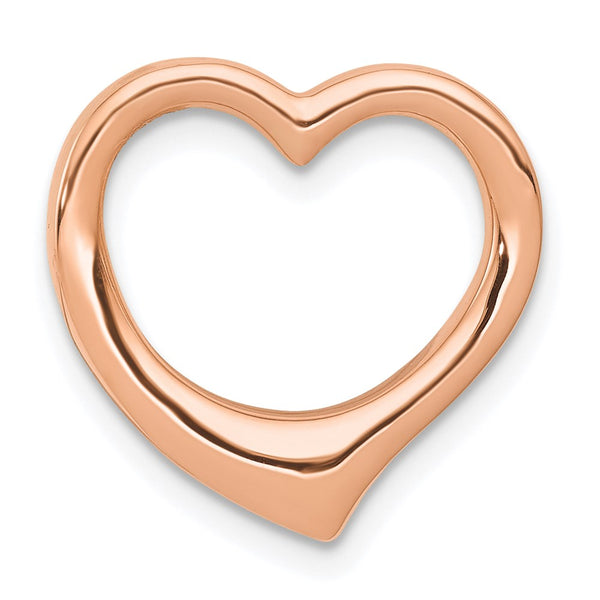 10k Rose Gold Polished Heart Chain Slide Charm Pendant