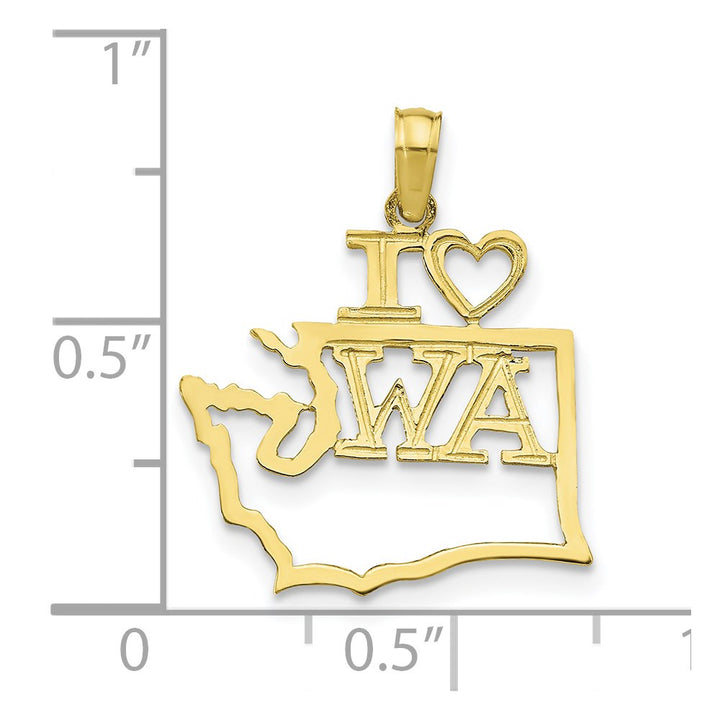 10k Yellow Gold Solid Washington State Charm Pendant