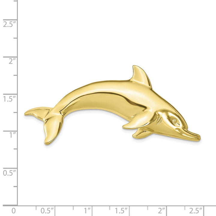 10k Yellow Gold Fits up to 6mm, 8mm Swimming Dolphin Slide Charm Pendant