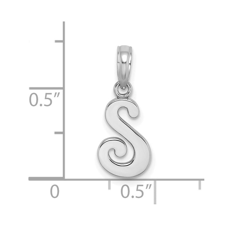 10k White Gold Polished S Script Initial Charm Pendant
