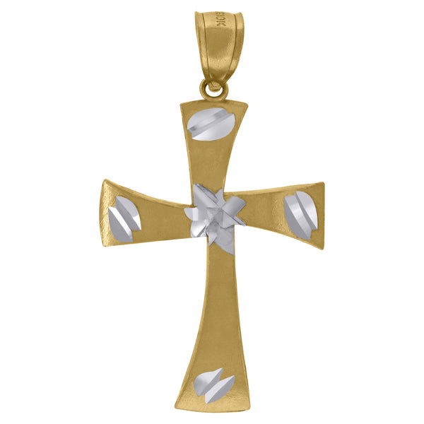 10kt Two-Tone Gold Womens Mens Unisex Cross Religious Fashion Charm Pendant