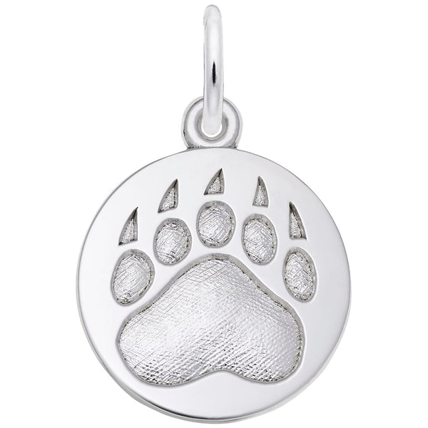 Rembrandt Charms Bear Paw Print Charm Pendant Available in Gold or Sterling Silver