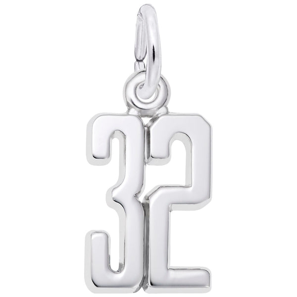 Rembrandt Charms Number 32 Charm Pendant Available in Gold or Sterling Silver