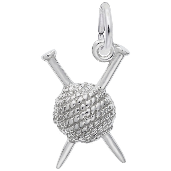 Rembrandt Charms Knitting Charm Pendant Available in Gold or Sterling Silver
