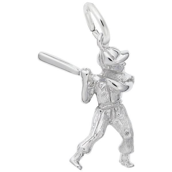 Rembrandt Charms Baseball Player Charm Pendant Available in Gold or Sterling Silver