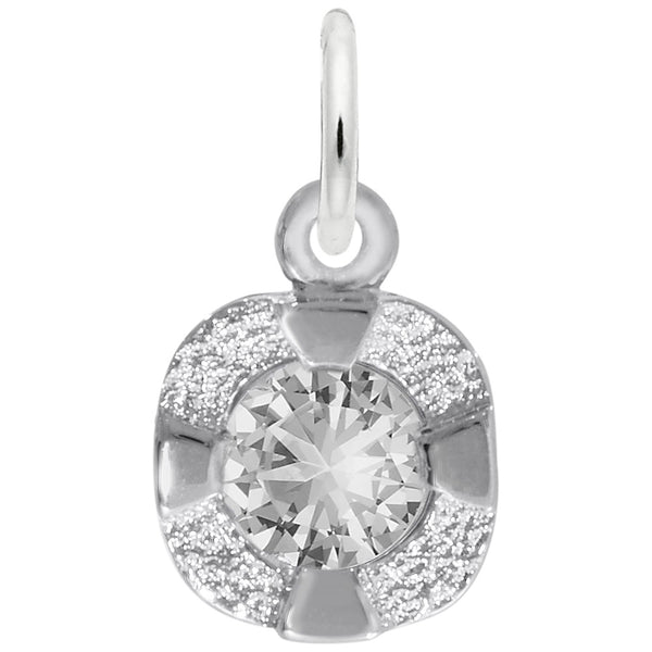 Rembrandt Charms Petite Birthstone - Apr Charm Pendant Available in Gold or Sterling Silver