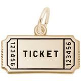 Rembrandt Charms Gold Plated Sterling Silver Movie Ticket Charm Pendant