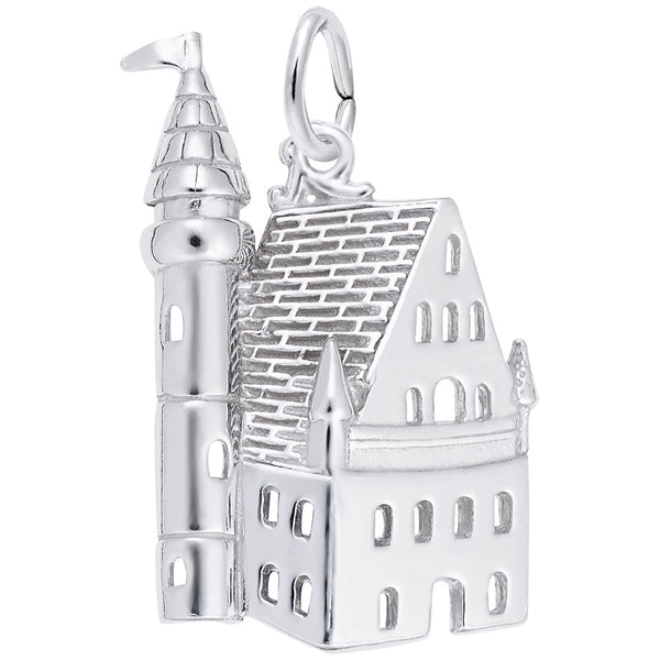 Rembrandt Charms Castle Charm Pendant Available in Gold or Sterling Silver
