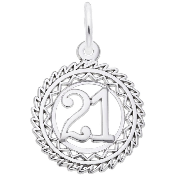 Rembrandt Charms Number 21 Charm Pendant Available in Gold or Sterling Silver