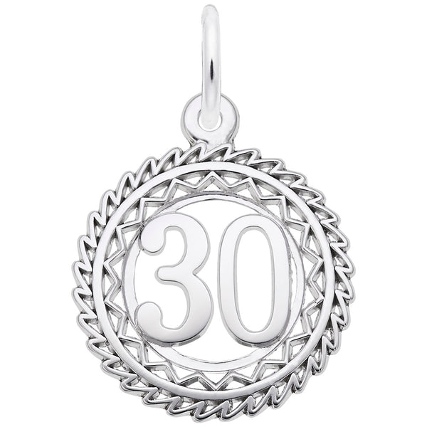 Rembrandt Charms Number 30 Charm Pendant Available in Gold or Sterling Silver