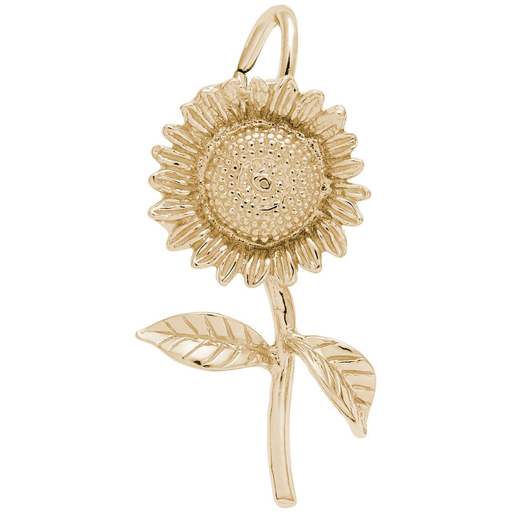 Rembrandt Charms Gold Plated Sterling Silver Sunflower Charm Pendant