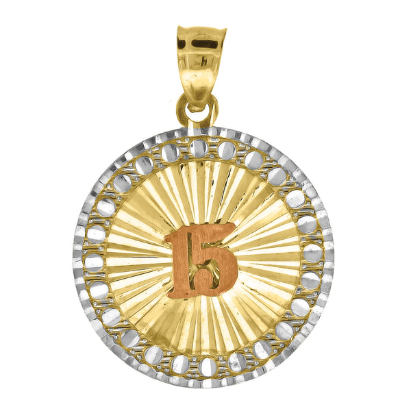 10kt Tri-color Gold Womens Diamond-cut Sweet 15 Anos Quinceanera Charm Pendant