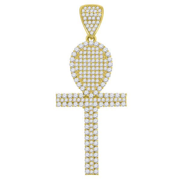 10kt Gold CZ Mens Ankh Ht:48.4mm x W:18.7mm Religious Charm Pendant