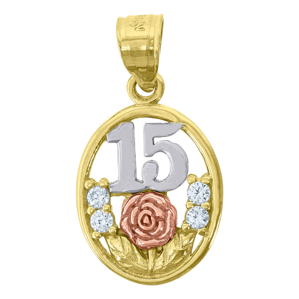 14kt Gold Womens Tri-color CZ 15 Anos Flower Oval Quinceanera Ht:23.2mm Pendant Charm