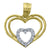 14kt Two-tone Gold Womens CZ Heart Ht:16.3mm Pendant Charm