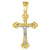 14kt Gold Unisex Two-tone DC Cross Crucifix Jesus Ht:40.6mm Pendant Charm