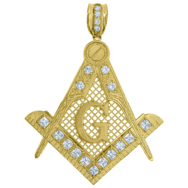 10kt Gold Two-tone CZ Mens Masonic Ht:90.3mm x W:70.9mm Religious Charm Pendant