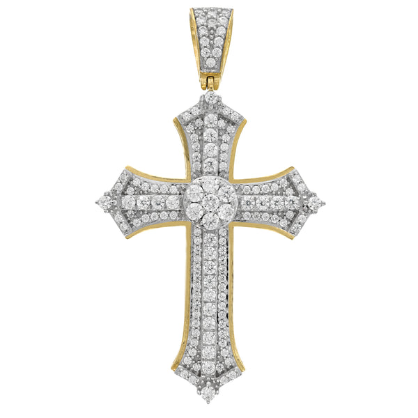 10kt Gold Two-tone CZ Mens Cross Ht:49.9mm x W:28.5mm Religious Charm Pendant