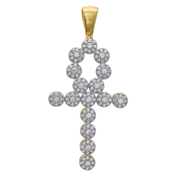 10kt Gold Two-tone CZ Mens Ankh Cross Ht:58.3mm x W:28.1mm Religious Charm Pendant