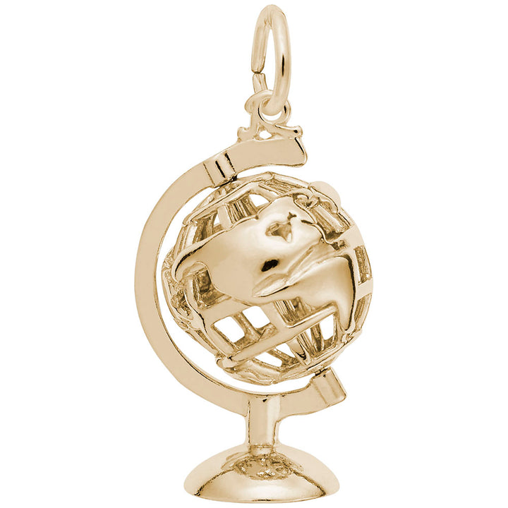 Rembrandt Charms Gold Plated Sterling Silver Globe 3D W Stand Charm Pendant