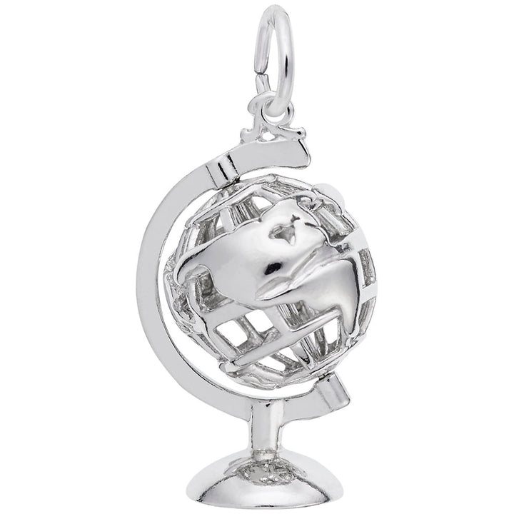 Rembrandt Charms Globe 3D W Stand Charm Pendant Available in Gold or Sterling Silver