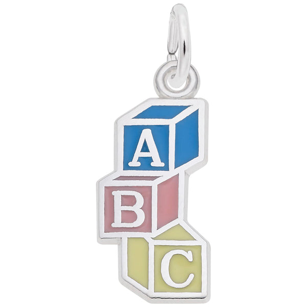 Rembrandt Charms Abc Block Charm Pendant Available in Gold or Sterling Silver