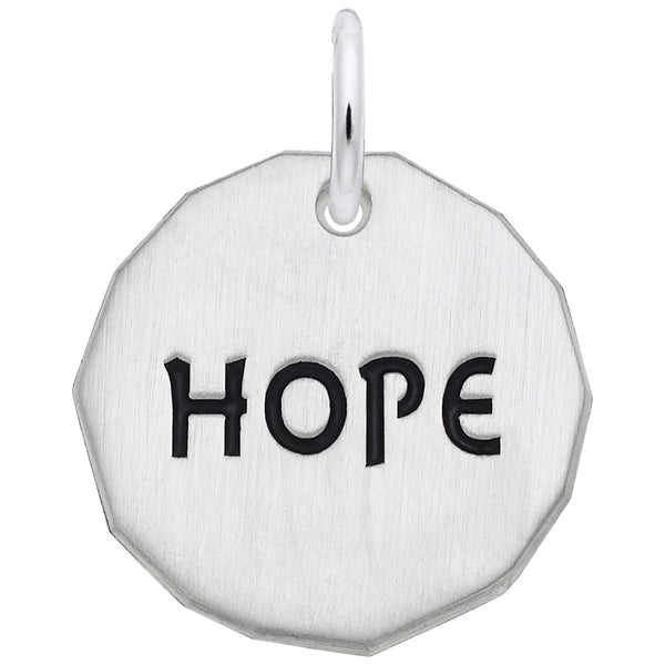 Rembrandt Charms Hope Charm Tag Charm Pendant Available in Gold or Sterling Silver