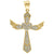 10kt Yellow Gold Mens Women Cubic Zirconia CZ Cluster Heart Cross Religious Charm Pendant
