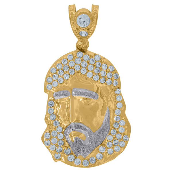 10kt Two-tone Gold Unisex Cubic Zirconia CZ Polished Finish Jesus Face Religious Charm Pendant